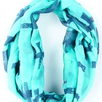 Mint Cross Print Scarf