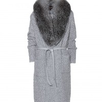 FRIBOURG CASHMERE CARDIGAN WITH FOX FUR COLLAR