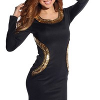 Black Gladiator Long Sleeve Party Dress with Gold Embellishments