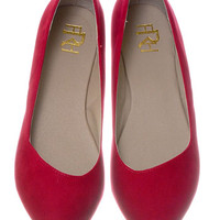 New Suede Shoes Flats in Cherry - PLASTICLAND