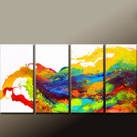 4pc ABSTRACT Canvas Art Painting - Huge 72x36 Original Modern Contemporary Fine Art Painting by Destiny Womack - dWo - Beginning to Dream