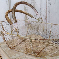 Long metal wire basket rusty shabby chic cottage chain link style home decor Anita Spero