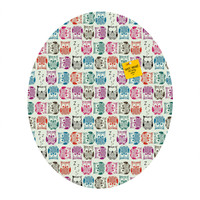 Sharon Turner Light Sherbet Owls Oval Magnet Board