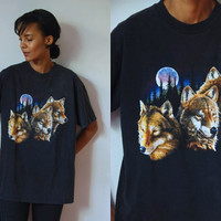 Vtg Full Moon Wolves Print Black SS Cotton Shirt