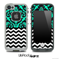Mirrored Trendy Green Chevron Pattern Skin for the iPhone 5 or 4/4s LifeProof Case - iPhone