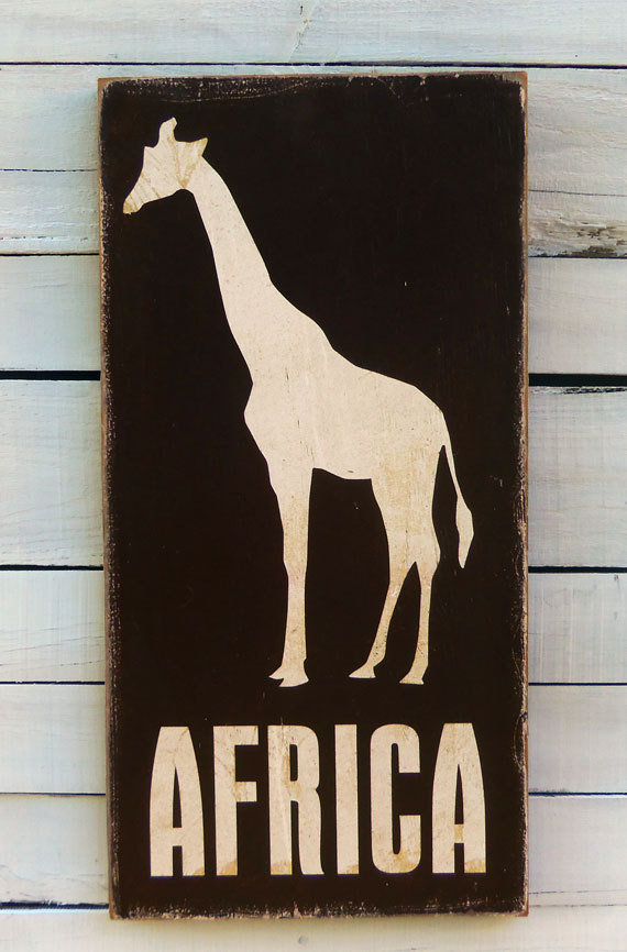 Typography Wall Art Africa Wood Sign Dark Chocolate by 13pumpkins
