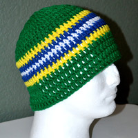 Crochet Brazilian Skullcap. Brazil Crochet Beanie. Men's Crochet Skull cap. Ready to ship. FREE US Shipping