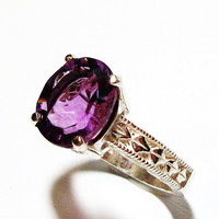 "Fluorite ring, solitaire ring, purple ring, purple, s 7 ""Breath of Heaven"""
