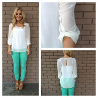 Ivory Bow on Sleeve Blouse