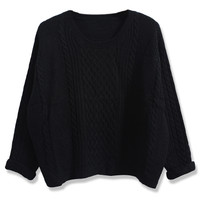 ROMWE | ROMWE Twisted Folded Cuffs Black Jumper, The Latest Street Fashion