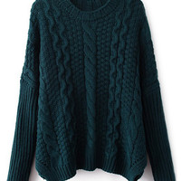 ROMWE | ROMWE Twisted Split Turquoise Jumper, The Latest Street Fashion