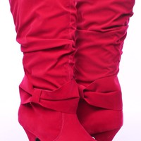 FUCHSIA FAUX SUEDE OVER-SIZED BOW RUCHED MID-CALF BOOTS