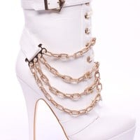 WHITE FAUX LEATHER CHAIN STRAPS LACE UP PLATFORM BOOTIES