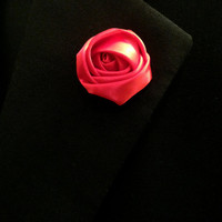 Red Satin Lapel Flower, Mens Lapel Flower, Mens Lapel Pin,Mens Boutonniere, Wedding Boutonniere, Wedding Lapel Pin
