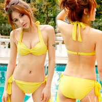 Womens 2pcs Twist Knot Halter Underwire Bikini Bathing Swimwear Swimsuit M 1d8