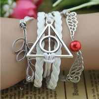 "creative cute charms bracelets, Deathly Hollows pearl tree leaf ""life forever"" charm brace jewellery gift white&brown"