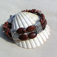"Gemstone Crystal Bracelet - Mahogany Obsidian & Brown Goldstone - ""Nutmeg"""