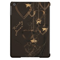 Hearts and Stars -Chocolate and Gold iPad Air Case