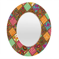 Aimee St Hill Patchwork Paisley Orange Oval Mirror
