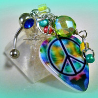 Bellyring Peace Sign, Piercing, Direct Checkout, Belly Button, Ready to Ship ,Beach ,Hippie,Bohemian. Rocker