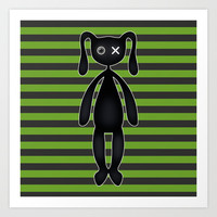 Goth Green and Black Bunny Art Print by Hippy Gift Shop