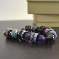Purple Lampwork Bracelet, Blue, Artisan Glass Beaded Bracelet