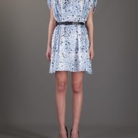 JULIEN DAVID belted paper print dress