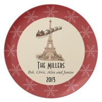 Vintage Santa over Paris Christmas Plate