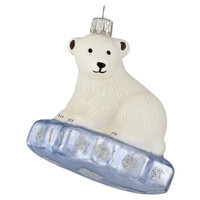 "4"" Polar Bear on Ice Ornament, White"