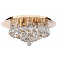 Searchlight Lighting Hanna 4 Light Crystal Semi Flush Ceiling Fitting in Gold Finish - Searchlight Lighting from Castlegate Lights UK