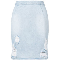 Light Blue Ripped Denim Pencil Skirt
