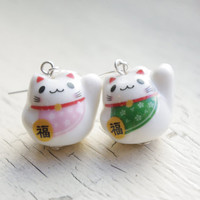 Ceramic Fortune Cat Earrings - Lucky Cat