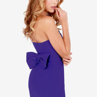 Anything Bows Strapless Royal Blue Dress