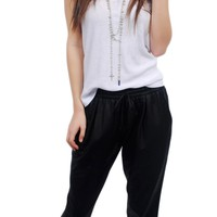 "Black Sporty ""leather"" harem pants - bottoms - SHOP"