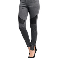 Charcoal Two-Tone Stretch Pants
