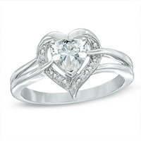 6.0mm Heart-Shaped Lab-Created White Sapphire and Diamond Accent Ring in Sterling Silver