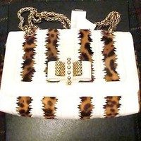 Christian Louboutin Sweet Chairty patent leather and leopard hair bag $1995