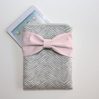 iPad Mini - Kindle - Nook - eReader Case - New Gray Chevron Light Pink Bow - Padded