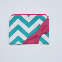 Cosmetic Case / Makeup Bag - Light Turquoise Chevron Hot Pink Side or Center Bow