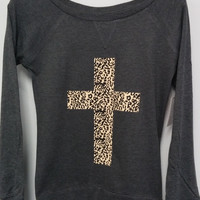 Long Sleeve Shirt - Leopard Print Cross
