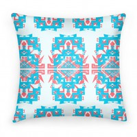 Aztec Pillow Teal and Red