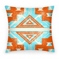 Aztec Pillow Orange and Teal
