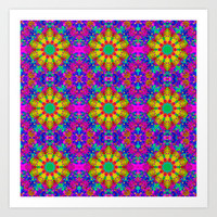 Pink Turquoise and Yellow Retro Pattern Art Print by Hippy Gift Shop