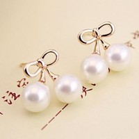 Bow Tie Pearl Balls Fashion Earrings