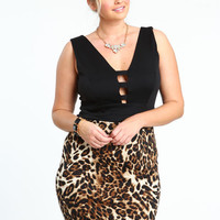 PLUS SIZE LATTICE LEOPARD DRESS
