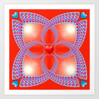 Red Heart Fractal Art Print by Hippy Gift Shop