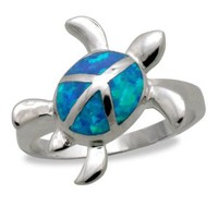 Sterling Silver Peaceful Sea Turtle Jewelry Ring with Blue Opal