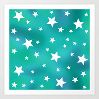 Turquoise and White Star Pattern Art Print by Hippy Gift Shop