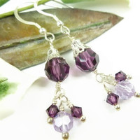 Amethyst Purple Swarovski Faceted Crystal Sterling Chandelier Earrings