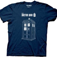 Dr. Doctor Who Police Booth Linear Tardis Navy T-shirt tee
